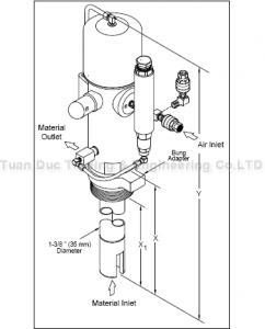 Bơm mỡ khí nén cố định cho phuy 180kg 8549-B1